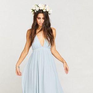 Ava Maxi Dress ~ Steel Blue Chiffon -Large Size
